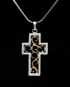 """2-The Unity Cross"" Sterling Silver Pendant with CZ's"